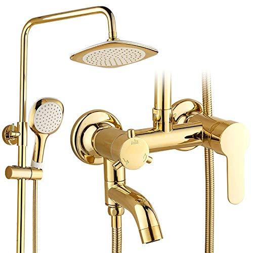 WY-YAN Bañera grifo de la ducha completa, montaje en pared con ducha de lluvia cabeza de ducha de mano y el grifo de la bañera, la lluvia mezclador de la ducha Conjunto de Conjunto Alta presión