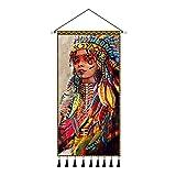 Indio nativo La esposa del cacique Arte de la pared Colgante de tela Carteles Pintura Sala de estar Tapiz Decoración Impresiones-60X120Cm Con marco 1 Uds