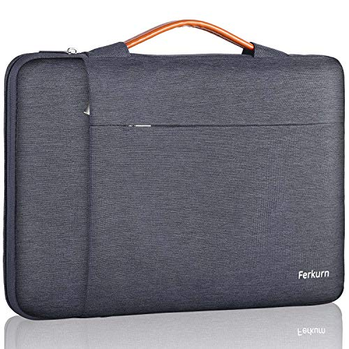 Ferkurn 15.6 Inch Laptop Sleeve Case Waterproof with Handle Protective Bag Compatible with 2019 MacBook Pro 15.4' A2141, 15-15.6 inch MacBook Pro Retina 2012-2015, Surface Book 2 15',Notebook,Gray