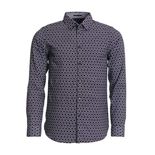 Ted Baker - Camisa para hombre con estampado de línea hexagonal
