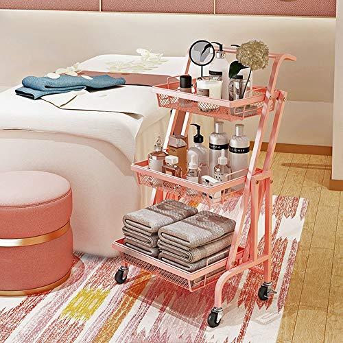 3 capas, capacidad máxima de carga de 60 kg, ruedas de cocina, multifunción, carro extraíble, soporte de almacenamiento para cuarto de baño, cocina y oficina (color pintado).
