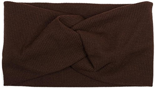 styleBREAKER Damen Haarband in Feinripp Optik mit Schleife, Twist Knoten, Stirnband, Headband 04026009, Farbe:Dunkelbraun