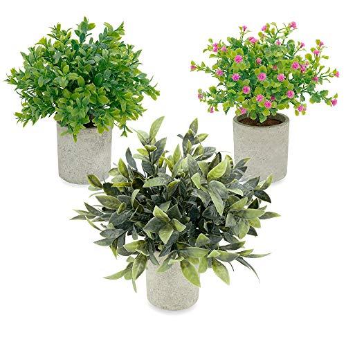 MAGILOT Plantas Artificiales Decorativas - Decoracion hogar - Regalos Originales - Flores Artificiales - Pack 3 Plantas pequeñas con macetas