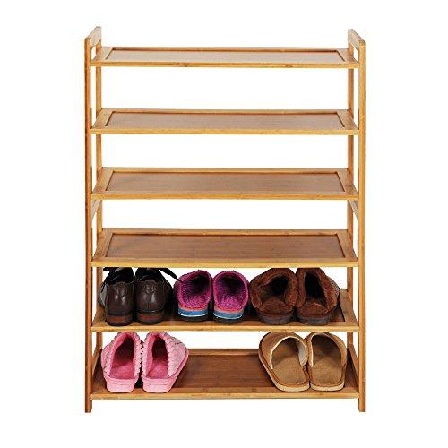 Zjcpow Zapatero de bambú de 6 niveles, zapatero de madera de color de almacenamiento de zapatos, estante de pasillo
