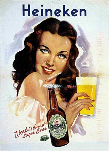 Heineken - Cartel de chapa para decoración de pared, diseño de pintura decorativa, color resistente al color, placa de metal, regalo, decoración de pared, arte hecho antiguo