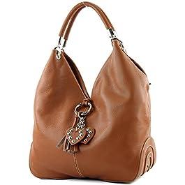 modamoda de – shopper sac à main en cuir italien sac à bandoulière 330, Couleur:cognac