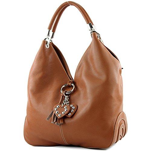 modamoda de - 330 - ital Handtasche Shopper Schultertasche Leder, Farbe:Cognac