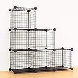 Vacplus 本棚 収納棚 大容量 棚 ラック 整理棚 メタルラック 組み立て式 衣装ケース タンス クローゼット ワードローブ 省スペース 収納便利 多用途 耐久性 6ボックス (ブラック)