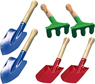 VOSAREA 6PCS Mini Garden Tool Set Kids Beach Shovel Rakes Toy Wooden Handle Iron Colorful Outdoor Learning Toys for Childr...