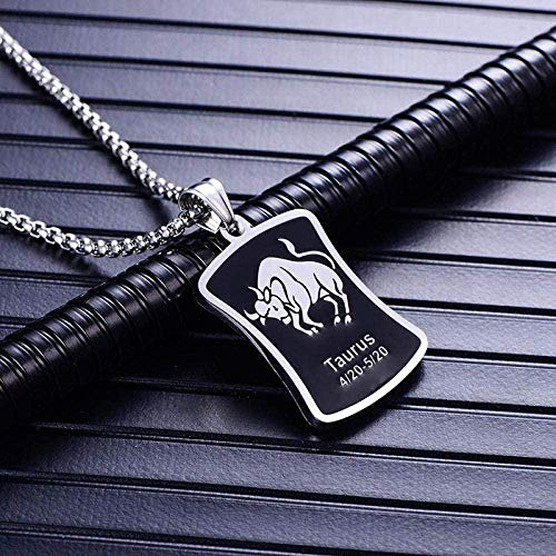 NC122 Pendant Necklace Constellations Women Men Square 316L Stainless Steel Jewelry Fashion Birthday Gifts -Taurus