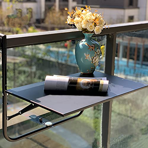 FENGSHOUU Wall Folding Hanging Table with 4 Adjustable Heights,Outdoor Indoor Space Saving Computer Workstation Coffee Tables,Garden Patio Balcony Railing Deck Table,Metal Side Table 60x40 cm(black)
