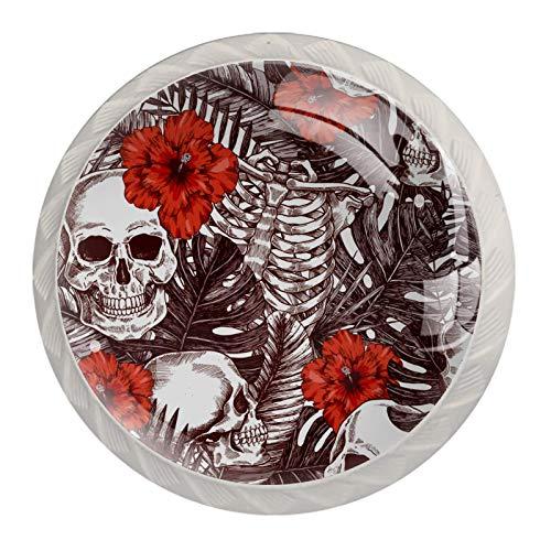 Manijas para gabinete de Halloween con diseño de calavera y rosas, aspecto blanco, 4 piezas de 35 mm para cajones de cocina, aparadores, armarios, armarios