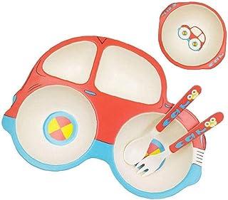 Enfants Arts de la table pour tout-vaisselle ensemble d'alimentation en bambou dîner Set plaque grille 5pcs Motif voiture,...
