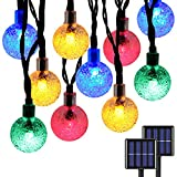 2-Pack Globe Solar String Lights Outdoor, Upgraded Ultra-Bright 60 LED Crystal Ball Solar Christmas Decorations Lights, Waterproof 8 Modes Outdoor Solar Lights for Garden, Gazebo, Tree (Multicolor)