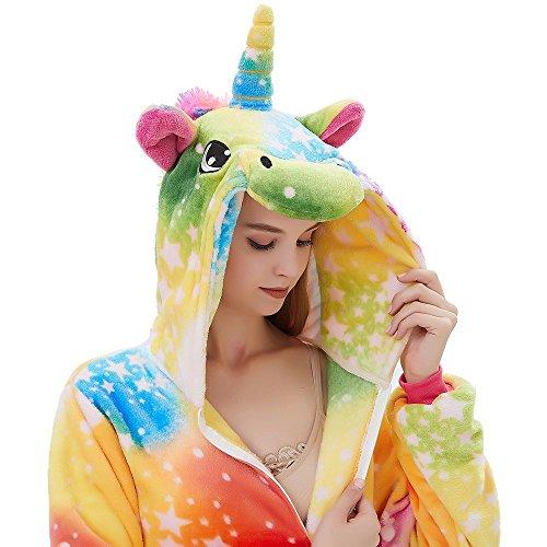 ABENCA Fleece Onesie Pajamas for Women Adult Cartoon Animal Unicorn Christmas Halloween Cosplay Onepiece Costume, Colorful Unicorn New, XL
