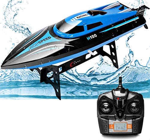 Rabing 2.4G RC High Speed Pools Lakes Outdoor, 30 Km/H Radio Toys for Adult & Kinder, 4CH Rechargeable Racing Boat by Remote Control-Blue