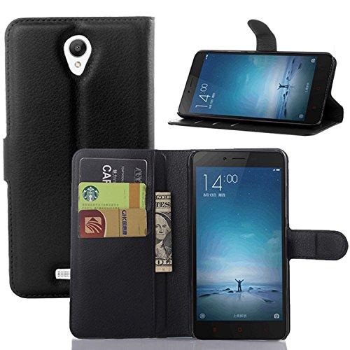 Tasche für Xiaomi Redmi Note2 Hülle, Ycloud PU Ledertasche Flip Cover Wallet Case Handyhülle mit Stand Function Credit Card Slots Bookstyle Purse Design schwarz