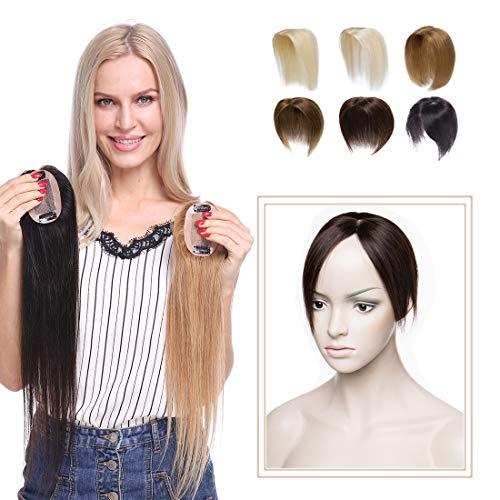 Elailite Hair Topper Capelli Veri Clip Protesi Donna Extension Remy Human Hair Indiani Silk Lace per Top Testa Super Realistico Toupet 20g Fascia Unica Toupee 6cm*9cm (25cm, 2# Marrone Scuro)