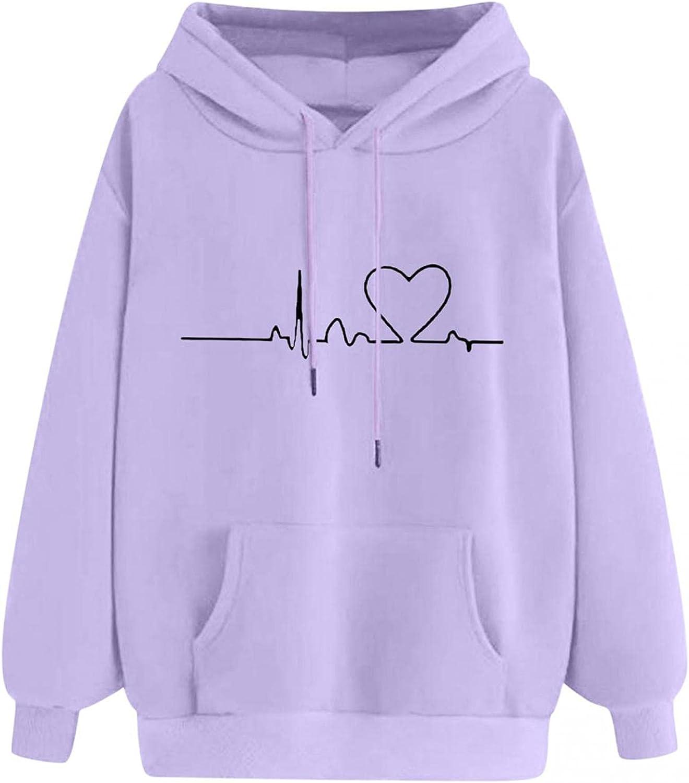 Women's Cute Hoodies Teen Girls Fall and Winter Plus Size Sweatshirts Printing Long Sleeve Hoodie Casual Pullover Tops