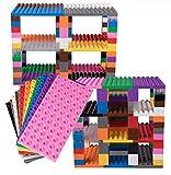 set di mattoncini per costruzione torre - compatibili con tutte le principali marche - solo mattoncini a pioli grandi - 12 basi arcobaleno (19 x 9,5 cm) e 96 big briks assortiti