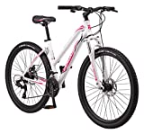 Mongoose Switchback Trail Adult Mountain Bike, 21 Speeds, 27.5-Inch Wheels, Womens Aluminum Small Frame, White (R8057SMAZ)