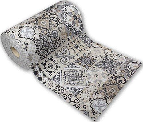 Passatoia Tappeto Runner da Cucina Fronte in Poliestere e Retro in PVC Antiscivolo Flessibile Stampa Digitale Made in Italy Larghezza 52 cm Lunghezza 160 cm Dis. Mattonelle