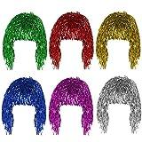 Pelucas Metal Brillante para Set de Pelucas Brillante Brillante Pelucas Mujeres Adecuado para Halloween Navideña y Despedida de Soltero Cosplay 6 pcs - (Oro, Blanco, Verde, Púrpura, Rojo y Azul)