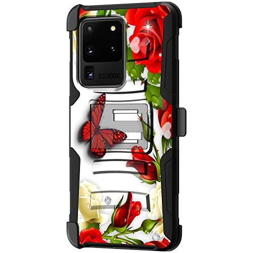 TurtleArmor | Kompatibel mit Samsung Galaxy S20 Ultra Hülle 6.9 | S11+ Plus Hülle [Hyper Shock] Fitted Armor Holster Gürtelclip Hybrid Cover Stand Shock Schutzhülle - Butterfly Roses