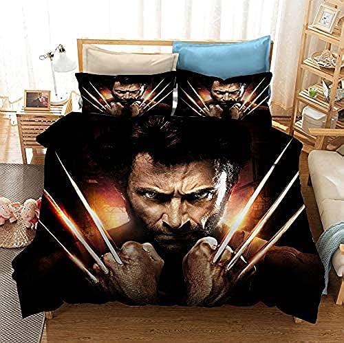 Housse De Couette Animaux X-Man Wolverine Ensemble Literie 3 Pièces Résistant À Décoloration Film d'impression 3D Wolverine Ensemble Lit avec 2 Taies d'oreiller