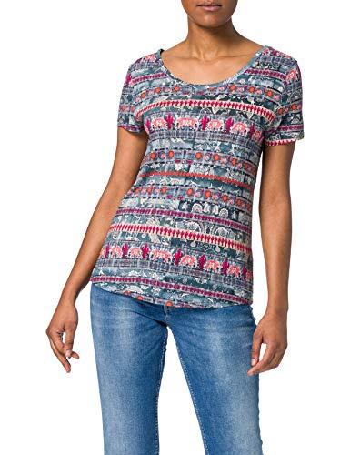 Desigual TS_Santorini Camiseta, Azul, S para Mujer