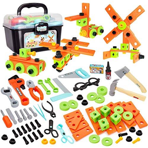 Buyger 82 Stück Werkzeugkoffer Werkzeugkasten Werkzeug Kinder Werkbank Kinderwerkzeug Handwerker Werkzeugset Spielzeug für Kinder ab 3 Jahre