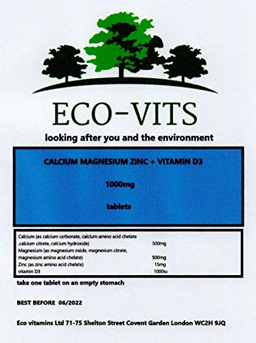 ECO-VITS Calcium Magnesium ZINC Plus D3 (1000MG) 365 TABS. Biodegradable Packaging. Sealed Pouch