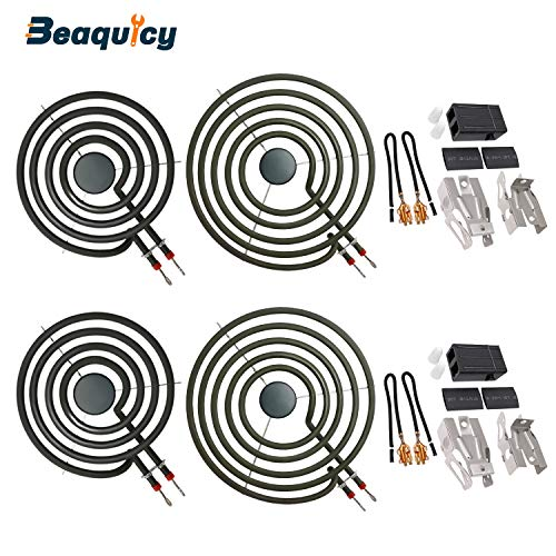 MP22YA Electric Range Burner Element Unit Set(2 pcs MP15YA 6' & 2 pcs MP21YA 8') with 2 Pack 330031 Surface Element Receptacle Kit by Beaquicy - Replacement for Kenmore Whirlpool Ranges Stoves