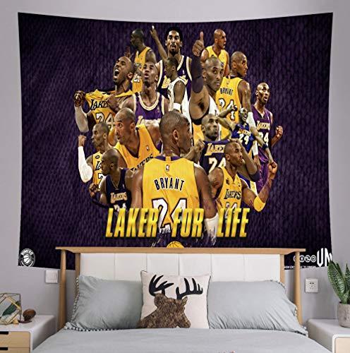 Xuejia Kobe Conmemorativa Junto a la Cama Tela de Fondo NBA Lakers Dormitorio decoración de la cabecera Tela para cancha de Baloncesto Tapiz Kit -4_150x130 (Franela)