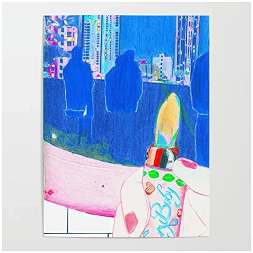 Impresiones de arte de pared, póster, imágenes de vista nocturna, decoración para el hogar, llanto del bebé, lienzo, pinturas más ligeras, sala de estar, 24x32 pulgadas, sin marco