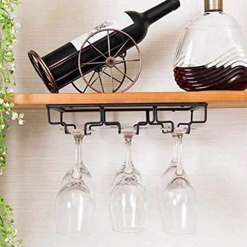 Küchenregal Organizer Weinglas Rack-Eisen-Wandhalterung Weinglas Hängehalter Goblet Stemware-Speicher-Organisator-Rack Geräte zur Organisation der Küche (Farbe : Three row)