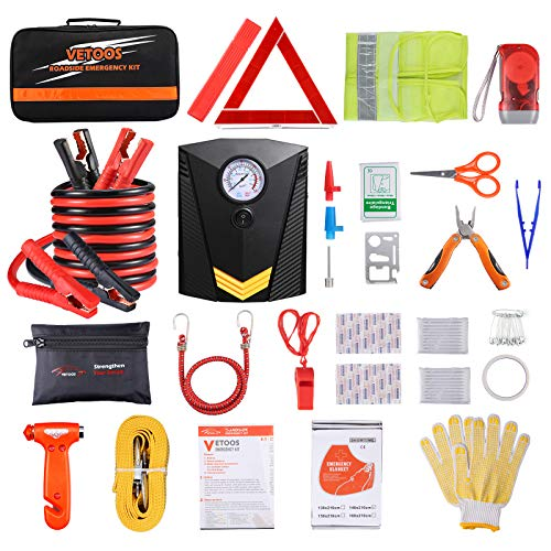 Vetoos Car Roadside Emergency Kit with Jumper Cables, Auto Vehicle Safety Road Side Assistance Kits, Winter Car Kit for Women and Men, with Portable Air Compressor, First Aid Kit, Tow Rope, etc
