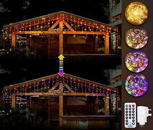 Ollny Led Curtain Lights Outdoor Icicle Lights,306 Led Fairy Lights Curtain String Lights Waterproof Warm White Lights with 11 Modes & Remote for Indoor Bedroom Christmas Party Wedding Decorations