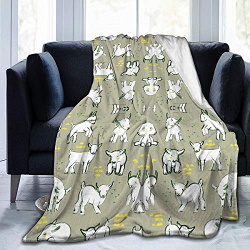 Sophia CunhaS Ultra Plush Soft Throw Blankets with Novelty Pattern Printed Multipurpose for Home Decorative, Airplane Travel, Dogs Blanket - 80'x60', Baby Goats in Grey