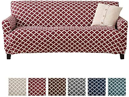 Best Home Fashion Designs Printed Twill Sofa Slipcover. One Piece Stretch Couch Cover. Strapless Sofa Cov