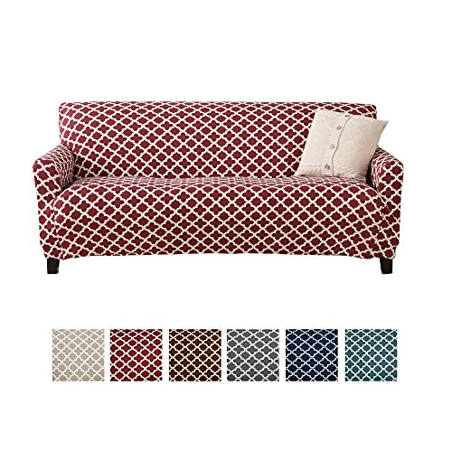Home Fashion Designs Printed Twill Sofa Slipcover. One Piece Stretch Couch Cover. Strapless Sofa Cover for Living Room. Brenna Collection Slipcover. (Sofa, Burgundy)