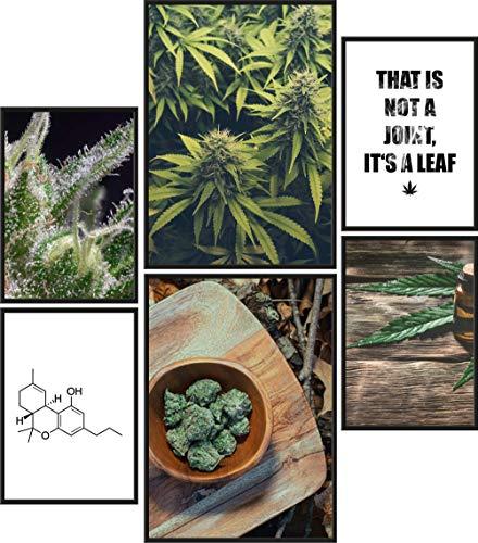 Papierschmiede® Premium Poster Set Cannabis   6 Bilder als stilvolle Wanddeko   2X DIN A4 und 4X DIN A5   Smoke Weed Marihuana Joint