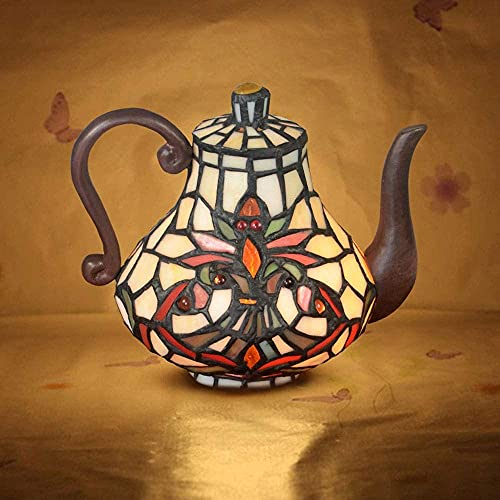 TOPNIU Lámparas de Escritorio Artesanal Lámpara Tiffany Estilo Lámpara de Mesa Maternidad Noche Luz Manchado Tetera Tetera Retro Lámpara de Noche W16 H19CM
