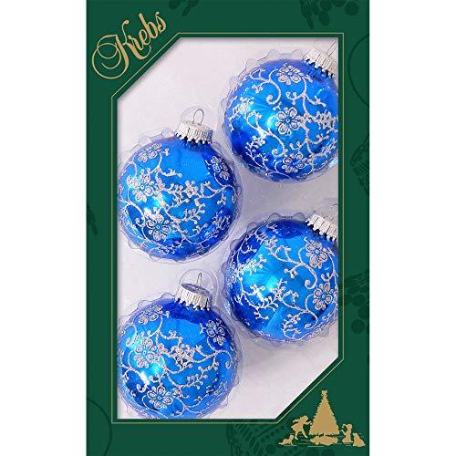 Krebs Glas Lauscha - Weihnachtsbaumschmuck - Glaskugeln - 4 Blaue Kugeln mit Glitzer Ornamenten