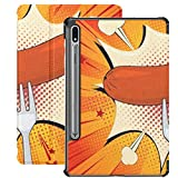 Galaxy Tablet S7 Plus Custodia da 12,4 pollici 2020 con portapenne S, salsiccia grigliata su forcella Custodia protettiva Folio Slim Stand pop art per Samsung