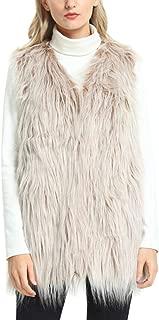 Women's Faux Fur Vest, Fashion Winter Fluffy Faux Fur Vest Coat Waistcoat Jacket with Pockets