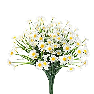 Artificial Daisy Flowers, 4PCS Fake Daisy Greenery Bush Faux Plastic Shrubs Garden Porch Window Home Kitchen Indoor Outdoor Spring Decorations (White)