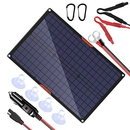 OYMSAE 30 Watt 12 Volt Solar Panel Solar Trickle Charger 30W 12V Portable Solar Battery Charger & maintainer with Cigarette Lighter Plug & Alligator Clip