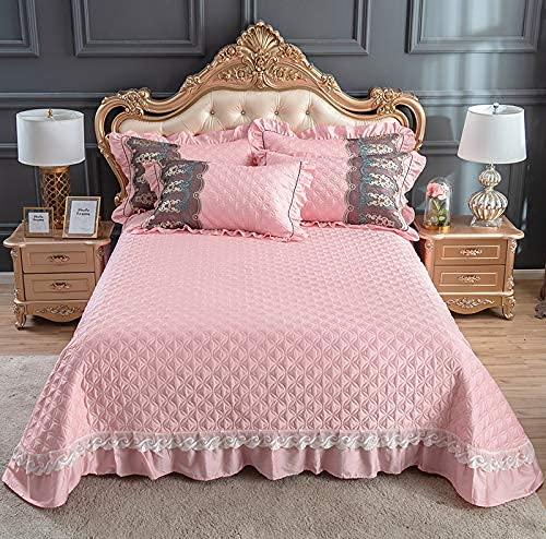 Colcha de gama alta Throw Double Queen King Size Coverlets Funda de cama acolchada de algodón de fibra larga Ropa de cama de 3 piezas Decoración de encaje Sábana con funda de almohada, Pink2-250x270CM