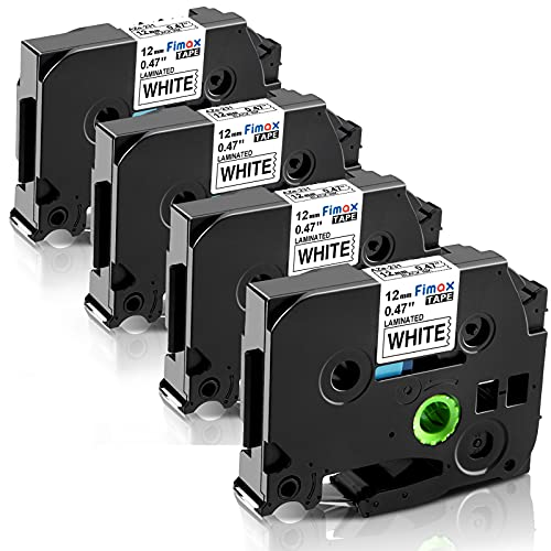 Fimax Compatible Label Tape Replacement for Brother TZe-231 TZe231 Tz231 PTD210 PTH110 PTD600 PT-400 Cube Label Makers (12mm 0.47 Black on White 4PK)